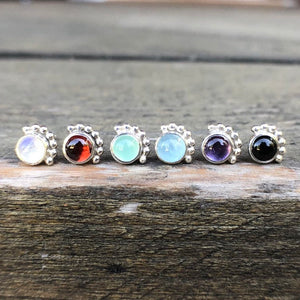 4mm Eyelash Rainbow Moonstone Stud Earrings