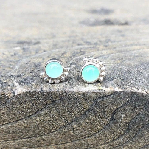4mm Sterling Silver Eyelash Chrysoprase Studs