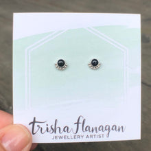 Load image into Gallery viewer, Eyelash Onyx Stud Earrings