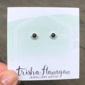 Eyelash Onyx Stud Earrings