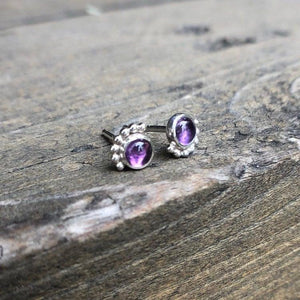 4mm Eyelash Amethyst Studs