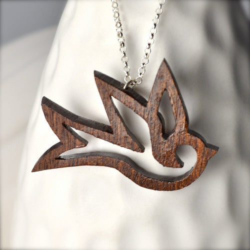 Dark Wood Bird Necklace