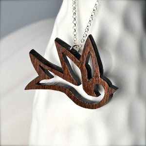 Large Dark Wood Bird Necklace