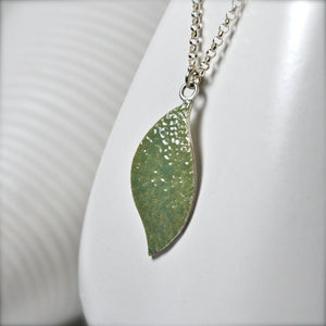 Green Enamel Leaf Necklace