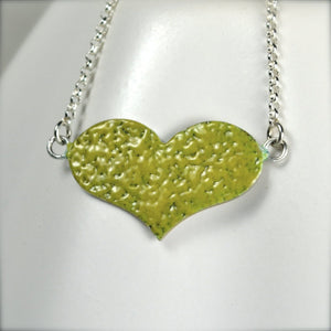 Yellow Enamel Heart Pendant