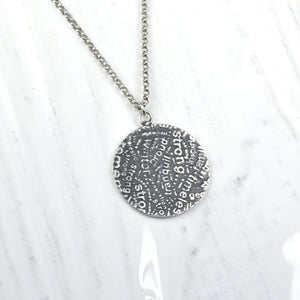Silver Circle Word Collage Pendant