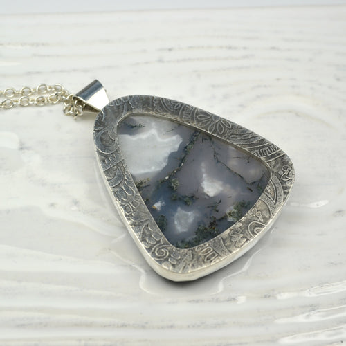 Reversible Statement Paisley and Moss Agate Stone Pendant