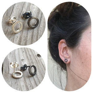 Silver Open Circle Stud Earrings