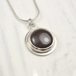 Reversible Silver Mayan Style Motif and Agate Pendant