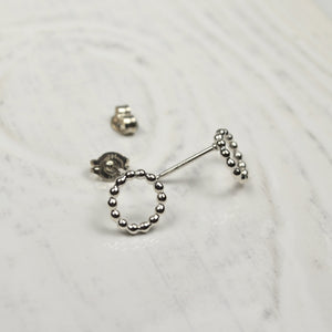 Open Beaded Circle Stud Earrings