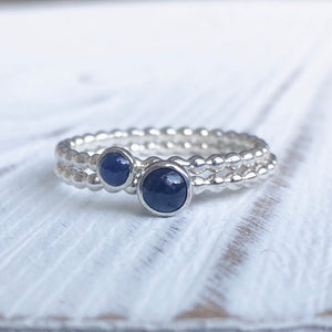 4mm Sapphire Silver Ring