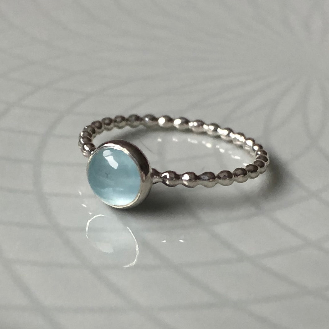 6mm Aquamarine Silver Ring