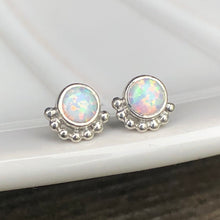 Load image into Gallery viewer, 4mm Eyelash Man-made Stimulated Opal Stud Earrings