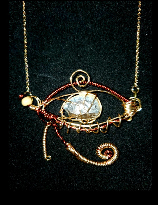 Jewelry - Translucent Blue Agate with Eye of RA Wire Wrapped necklace