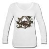 T-shirt - Women's Long Sleeve  V-Neck - white