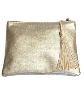 Leather bronze zip up clutch bag with tassel