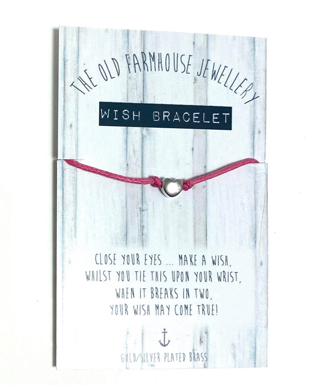 Handmade Wish Friendship Bracelet | Silver Heart