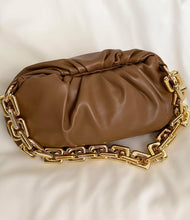 Load image into Gallery viewer, Chunky Gold Chain Pouch Clutch Bag | Chocolate