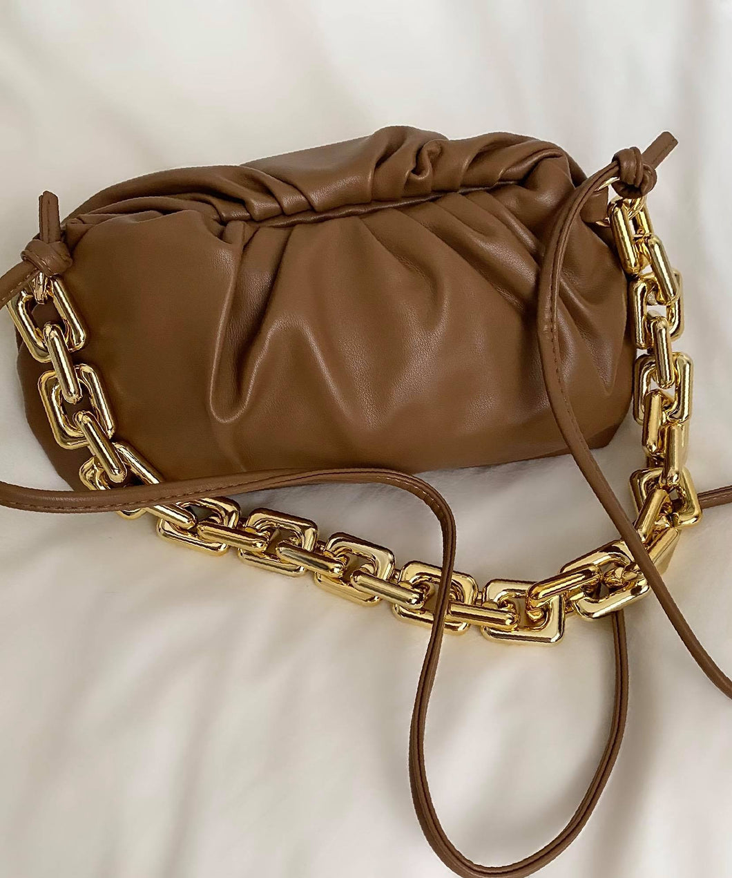 Chunky Gold Chain Pouch Clutch Bag | Chocolate