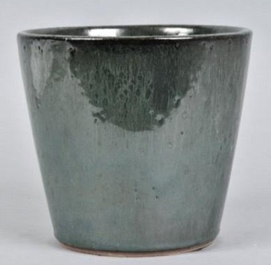 Dark green shiny glaze pot 18 X 20 cm