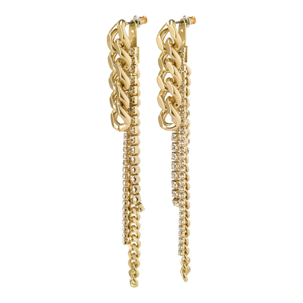 Pilgrim Radiance Gold Plated Crystal 2-in-1 Chain Drop Earrings