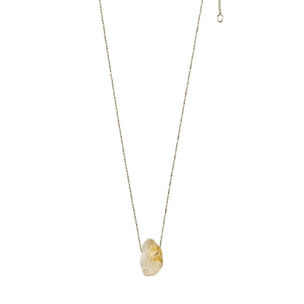 Citrine gem stone on gold chain