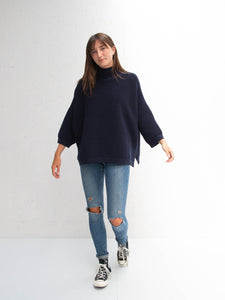 Vicki batwing jumper navy Chalk UK