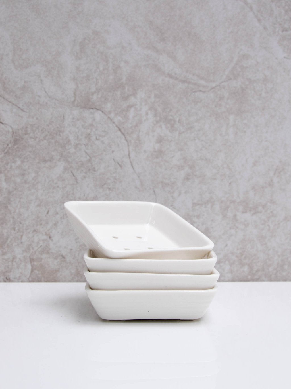 chalk small white square soap dish