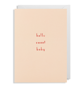 new baby card hello sweet baby in soft pink