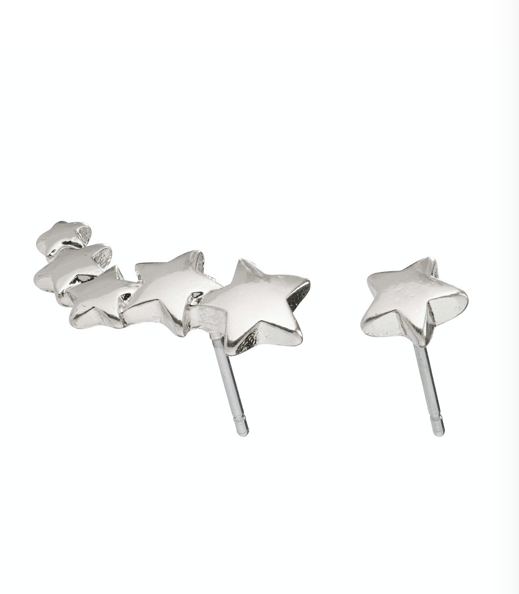 Pilgrim Ava Silver Plated Shooting Star Ear Crawler Studs