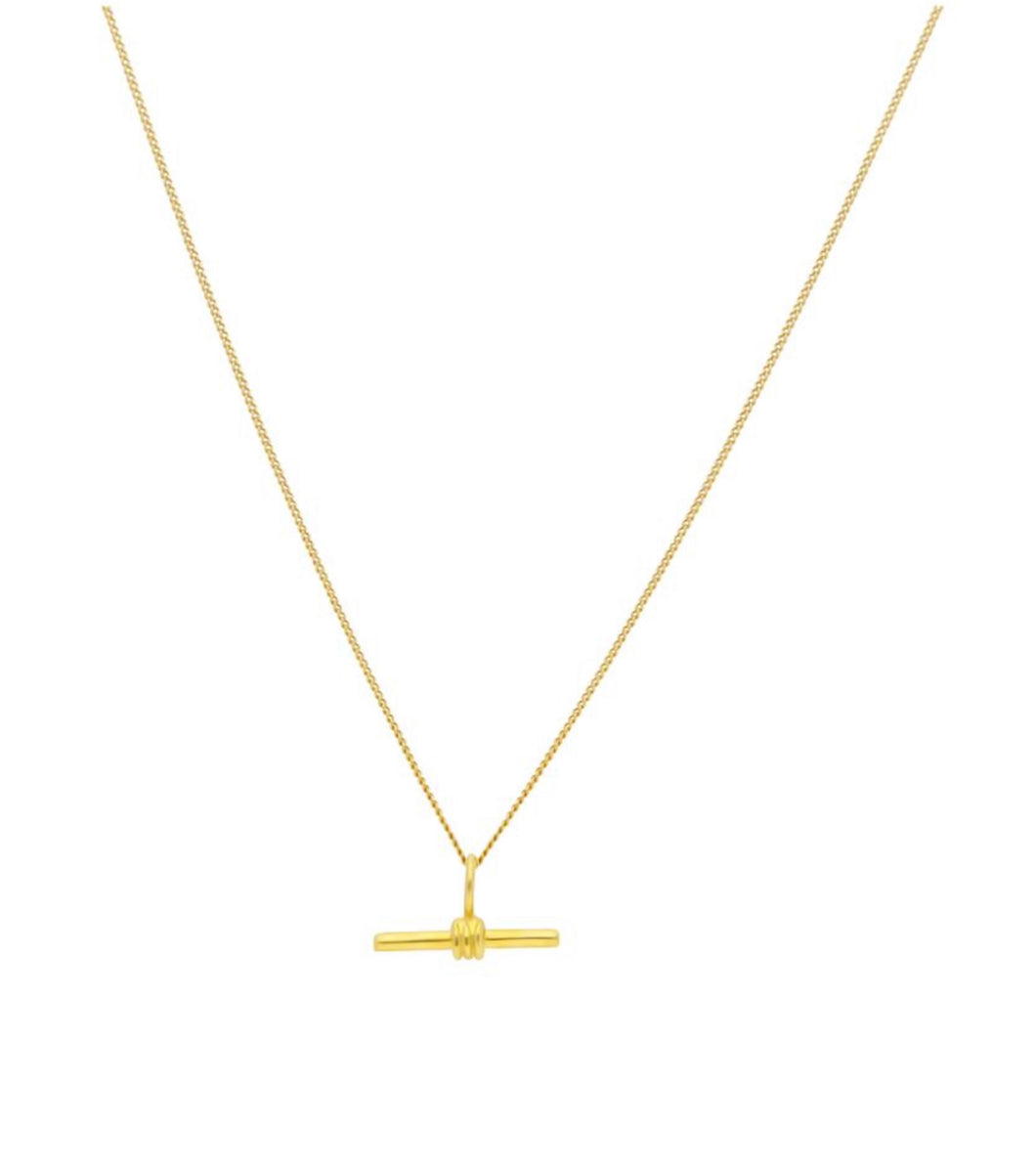 Small gold T bar necklace