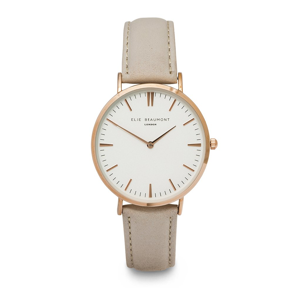 Classic watch with pale grey strap