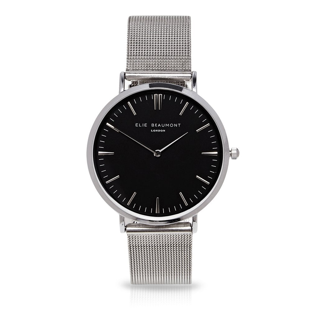 Watch with mesh strap in black