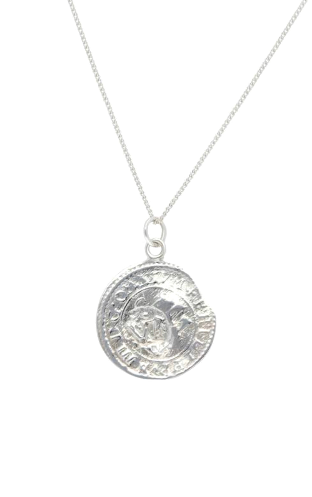 Silver coin pendant necklace sterling silver