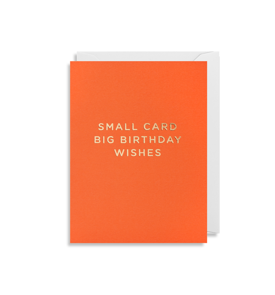 Bright orange card with small card big birthday wishes in gold