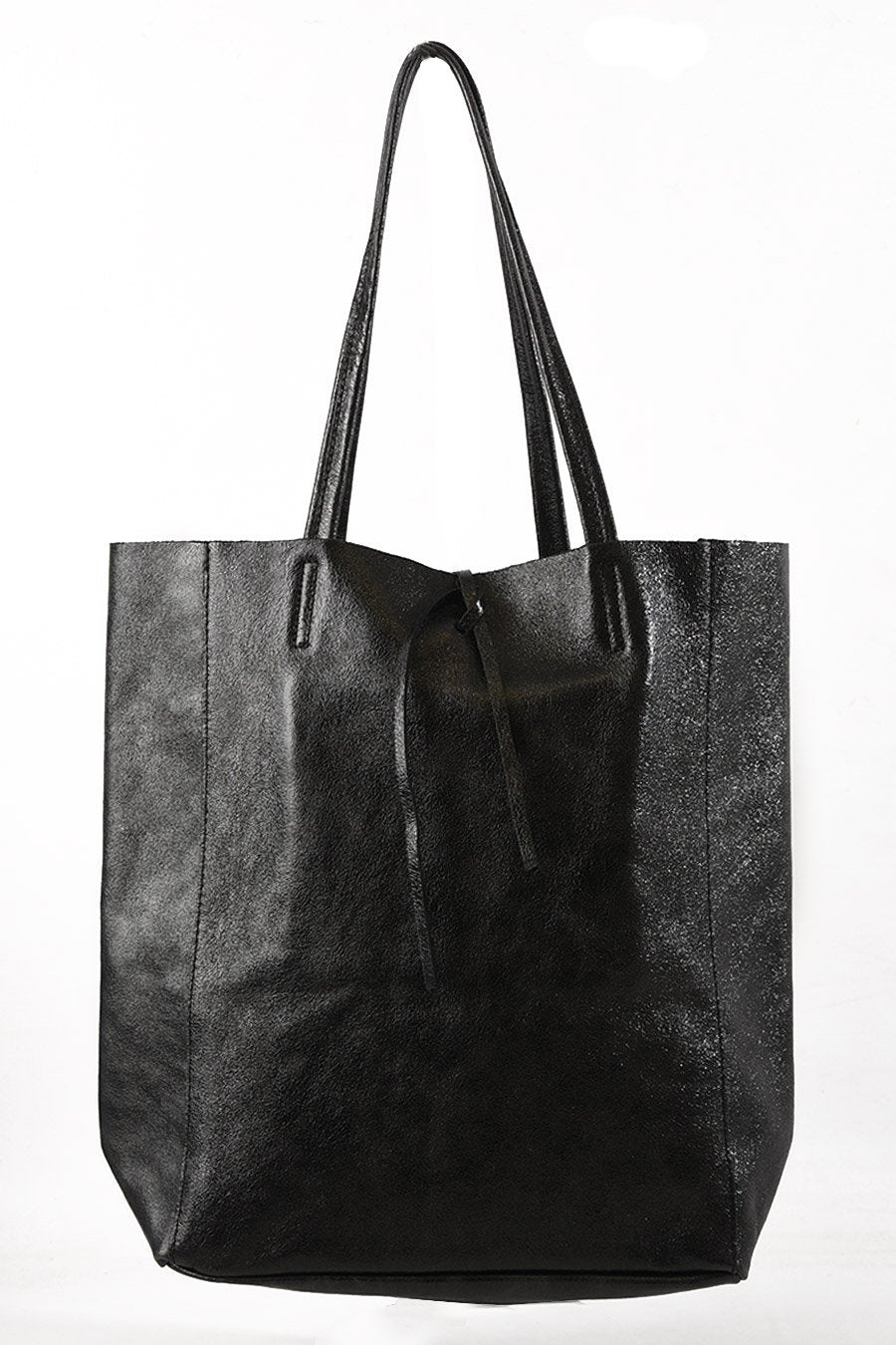 Black metallic leather tote bag