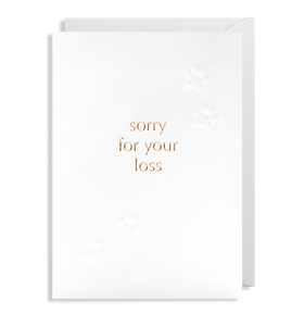 sorry for your loss card with embossed pet paws