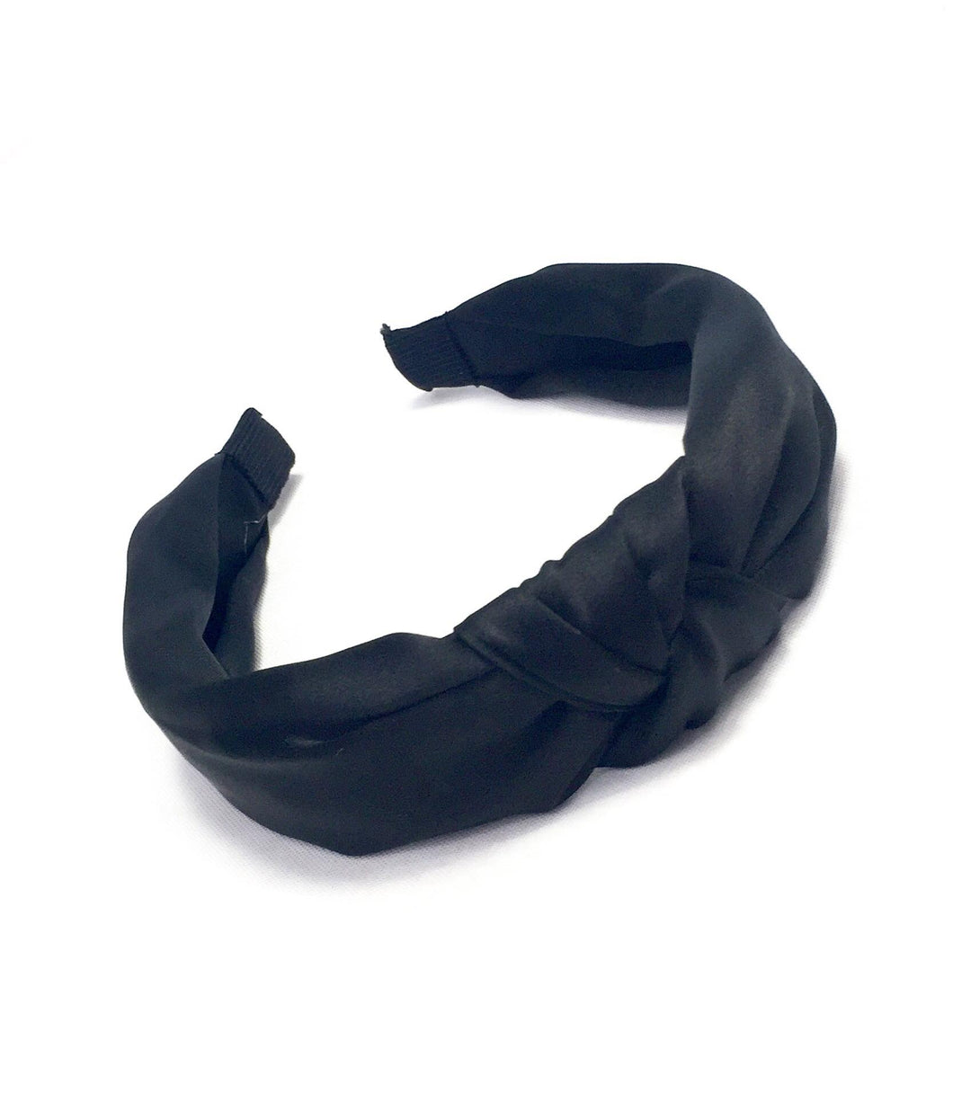 Onyx black silky knotted headband