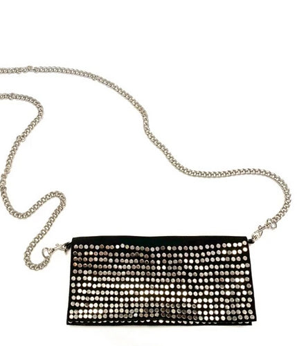 Black silver studded Moroccan suede bag