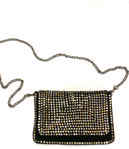 Large black studded Moroccan suede bag