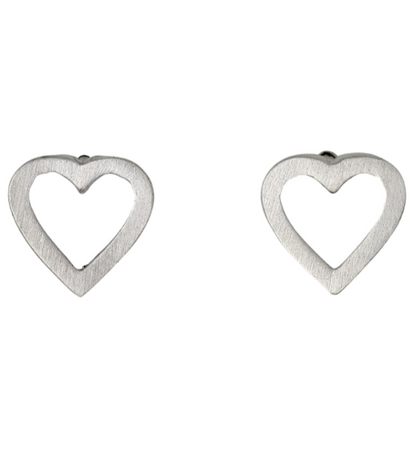 Pilgrim Sophia silver open heart stud earrings
