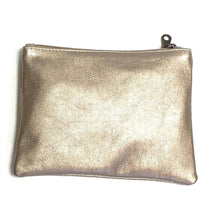 Load image into Gallery viewer, Leather bronze zip up clutch bag with tassel