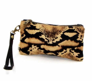 Jaguar print Italian leather clutch purse with hand strap