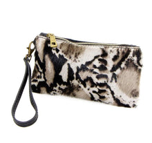 Load image into Gallery viewer, Jaguar print Italian leather clutch purse with hand strap