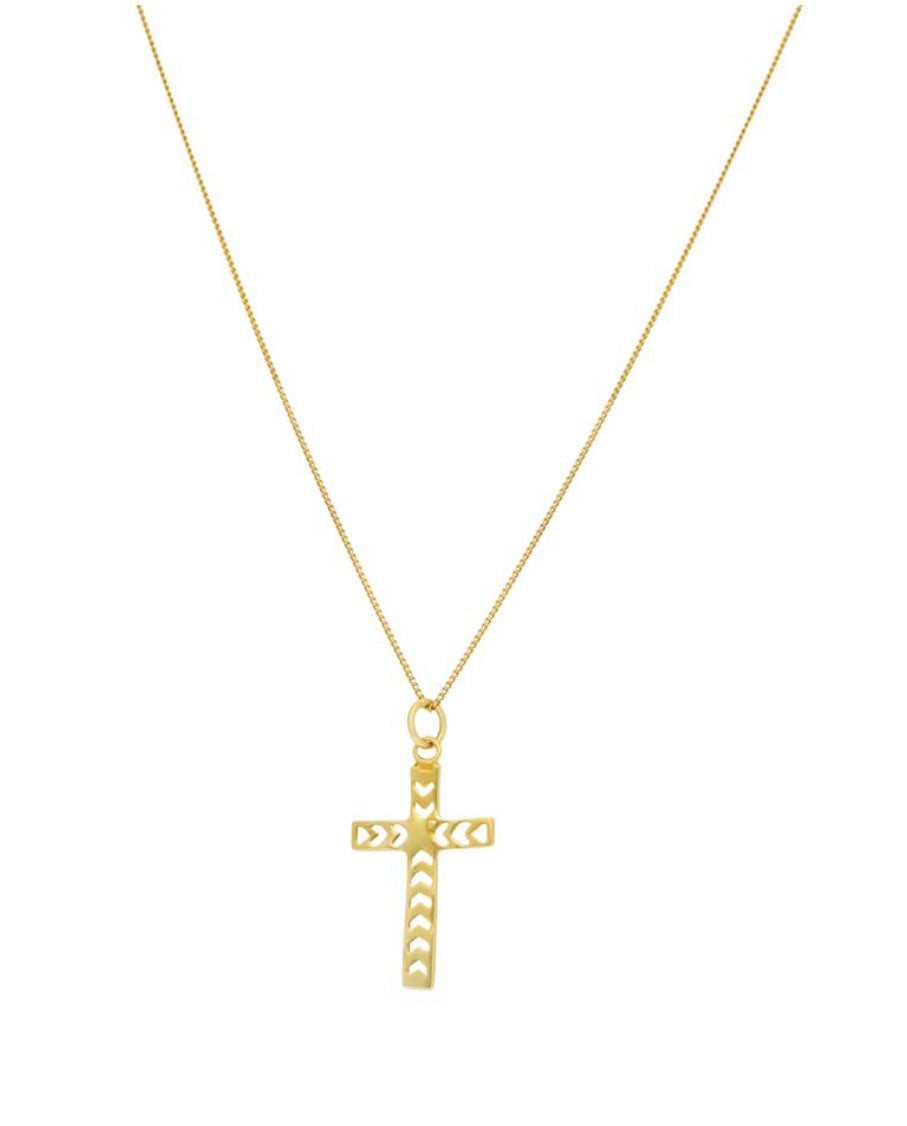 Ornate cross necklace gold