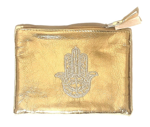 Gold zip up pouch with hand of Fatima