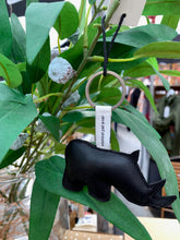 Load image into Gallery viewer, Black leather rhino keyring from Yaya the brand