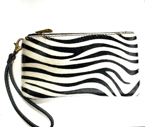 Zebra print Italian leather clutch purse with hand strap
