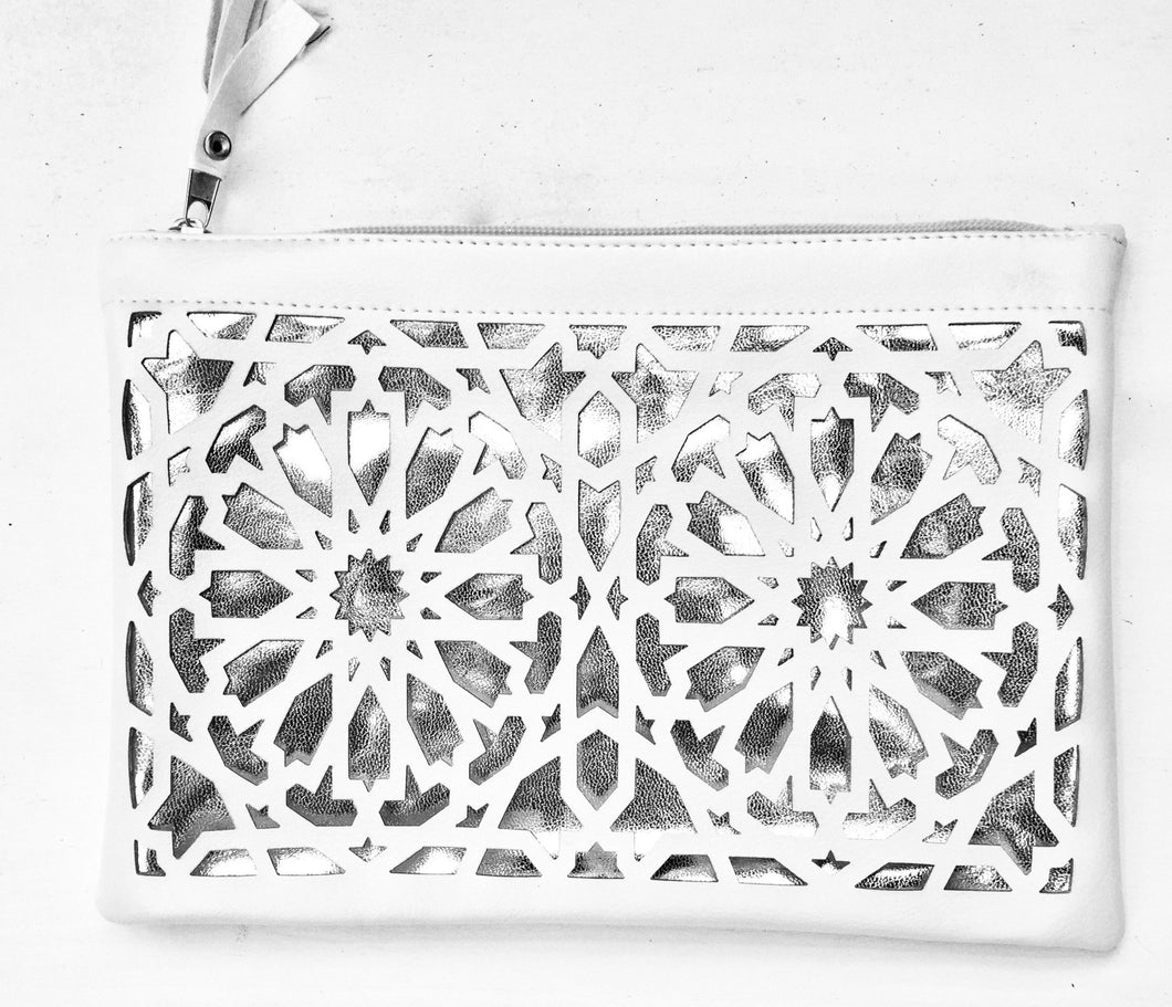 Islamic pattern cut out pouches - White and silver