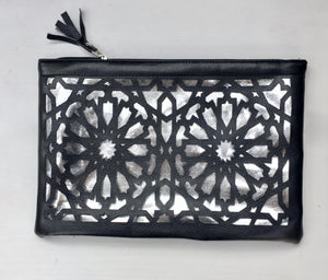 Islamic pattern cut out pouches - Black and silver